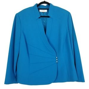 TAHARI Bright Blue Asymmetrical Blazer Jacket